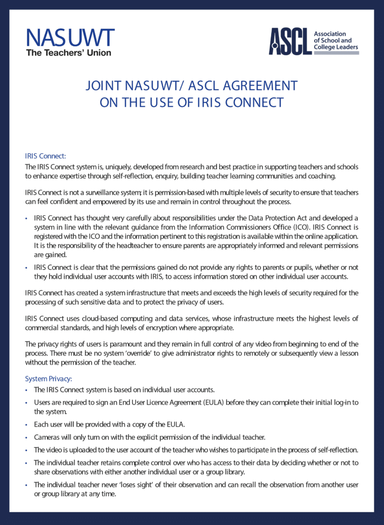 NASUWT/ASCL agreement about IRIS Connect