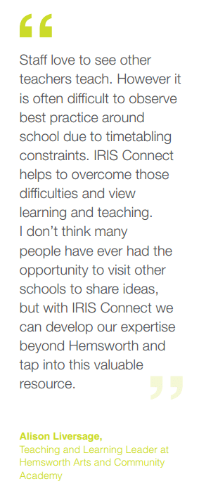 Quote about school collaboration with IRIS Connect